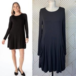 Betabrand Travel Black Sweatshirt Dress